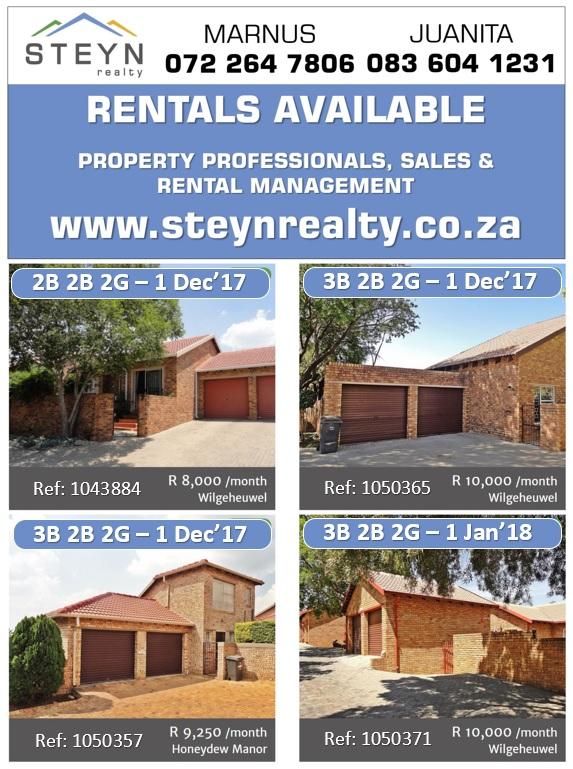 Rentals 1 Nov List
